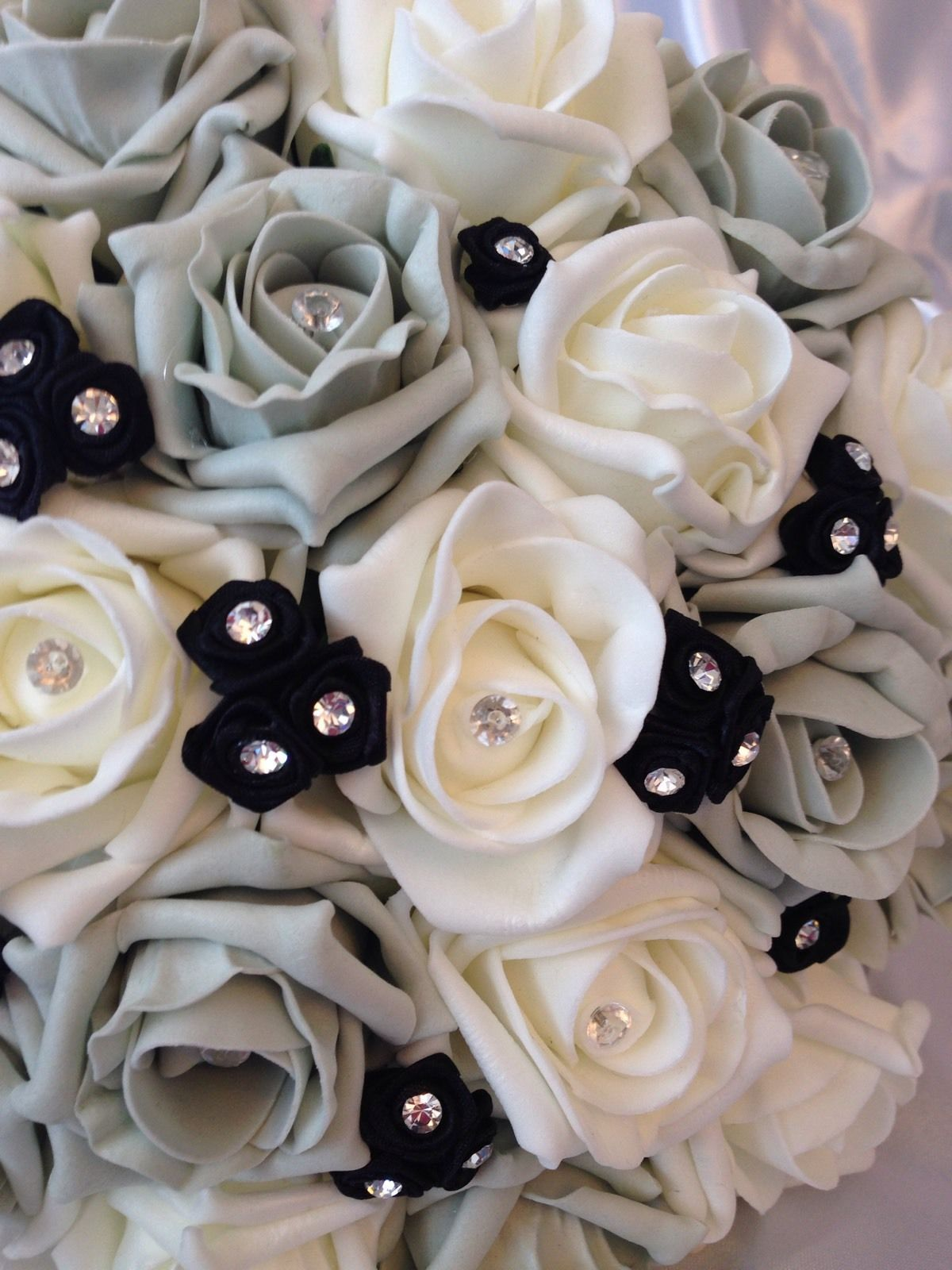 Wedding Flowers Artificial Ivory Silver Black Rose Bouquet Bridesmaid